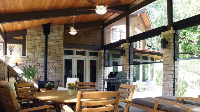 Motorized Patio Shades Block Sun And Insects