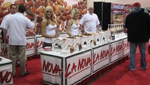 La Nova's booth, which offers attendees a variety of chicken wings to sample, is always a hit at the NAPICS show.