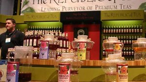 Playing off the trend of hibiscus-infused beverages, The Republic of Tea showcased its line of five Hibiscus Superflower teas. The teas were launched in February with flavors such as Natural Hibiscus and Hibiscus Vanilla Apple.