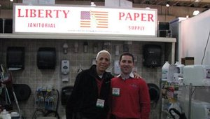 Harvey Hiller and Adam Kanfer, both of Liberty Paper & Janitorial Supply Co., pose for our camera during the 2009 International Restaurant & Foodservice Show of New York.