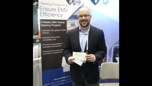 Byron Kern presents a new card cleaning solution for payment equipment at the KIC Team booth.
