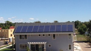 This home's 8.56-kW solar electric system and energy-efficient construction give it a Home Energy Rating System (HERS) score of -9, meaning the home will produce more energy than it consumes, saving its homeowners $2,070 a year in energy costs compared to a standard new home built to code, which would have a HERS of roughly 80 to 100.