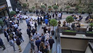 After a full day of informative and inspiring sessions, attendees dined and networked in the  Grange City Hotel's courtyard, beside the last remaining section of London's Roman Wall. Photo credit: Ryan Cansler