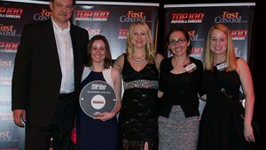 <p>Amsterdam Falafelshop's execs receive the brand's 50th-place award.</p>