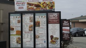 <p>Updated drive-thru menu boards now feature two call-outs, one on top, and one to the side, for limited time offers.</p>