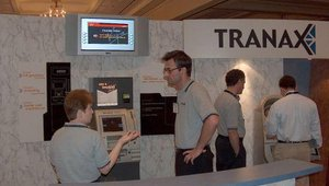 Tranax displayed impressive technology (note the flatscreen at the top).