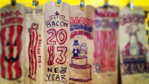 <p>Elledge started 2013 off with Which Wich...and bacon.</p>