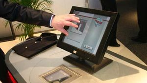 The ability to react to fluctuating peak times is made easier with a checkout system that can change from service to self-service with the swivel of the touchscreen. Shown above is Wincor's answer to lessening long lines at the retail counter.