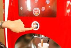 The inline dispensing unit allows users to control the amount of ice and beverage in their cup.