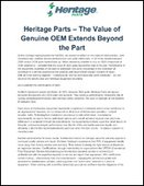 Heritage Parts – The Value of Genuine OEM Extends Beyond the Part