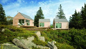 Little House On a Ferry, City Point, Vinalhaven, Maine. At 980 sq. ft., this summer-only home uses cross laminated timber as a method of prefabrication The panels were erected on site in just four days, and the house was ready for occupancy in about six months. Photo courtesy of GO Logic.