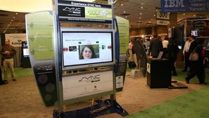 At the Frank Mayer & Associates booth was a kiosk designed to demonstrate Sync, a new service available in certain cars that allows drivers to more easily play digital music.