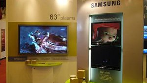 Samsung's booth was centered around a vibrant 63-inch plasma.