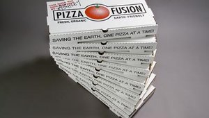 Pizza Fusion gives customers discounts who return used pizza boxes to the store for recycling.