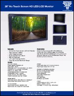 """28"""" No Touch Screen HD LED/LCD Monitor Sell Sheet"""