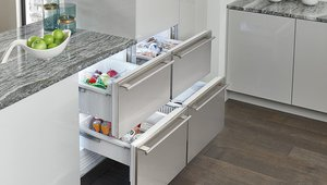 Integrated refrigerator drawers are part of the Sub-Zero line.
