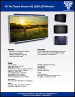 "43"" No Touch Screen HD LED/LCD Monitor Sell Sheet"