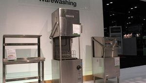 Several pieces of warewashing and food storage equipment are on display in NAFEM's What's Hot, What's Cool product gallery. Products include Hobart's Advansys Ventless Door-Type Warewasher (center). The product featured Hobart's energy recovery solution.