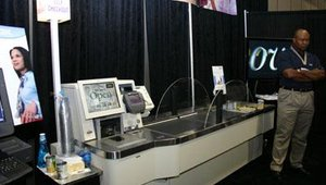 The IBM Model 171 self-checkout unit, a centerpiece in the Store of the Future.