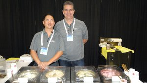 Jerome Tung, left, and Roger Clawson serve gelato from Golden Spoon in the Sysco Pavilion.