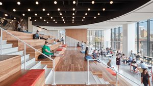 The sixth-floor Work Cafe mimics a PlayPlace, but includes amenities for grownups likes a coffee bar and a tech bar. Photos via McDonald's Corp.