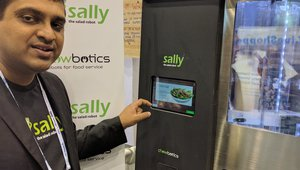 The founder of Chowbotics shows how his salad robot, Sally,  allows customers to customize a salad and then watch as the robot creates it within a few minutes.