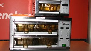 Merco featured its MHC Holding Cabinet, designed with individually controlled, sealed bins to maintain hot foods and extend hold times. The MHC utilizes conduction heat that directly transfers heat from both top and bottom.