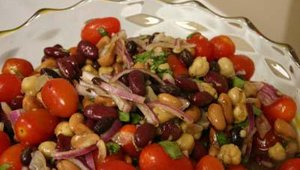 Featured here is a bean salad featuring cherry tomatoes and Truitt's line of FCA kidney, pinto and garbanzo beans.