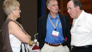 Francie Mendelsohn (left, Summit Research Associates), Jim Phelps (center, CompuShop Services) and Alan Fryrear (NetWorld Alliance) chat at the Self-Service & Kiosk Association annual meeting.