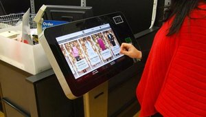 The F&F Order Point solution is a touchscreen kiosk designed by Retec Interface that allows shoppers to browse items not available in stores and make purchases using chip-and-pin.