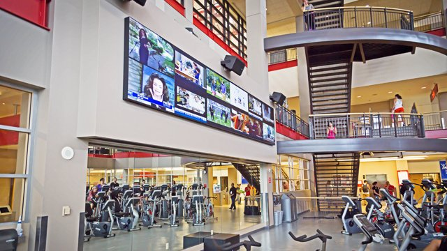 Digital signage video wall helping UNLV students get fit