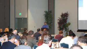 A room of Tranax distributors listens to a presentation given by Tranax president and CEO Dr. Hansup Kwon. The distributors attended the June 16, 2006, Tranax conference in South Lake Tahoe, NV.