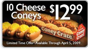 Gold Star's current promotion is the Coney Crate, a popular take-home menu item, featuring 10 cheese coneys for $12.99.