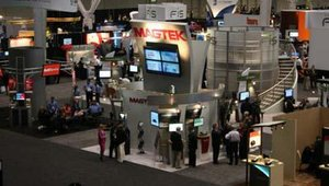 An aerial shot of the show floor, showing the MagTek and FIS booths. FIS was one of the show's largest exhibitors.