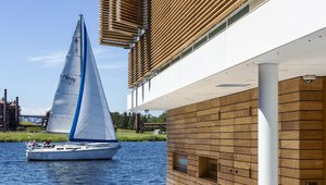 Exterior materials were chosen for longevity and ease of maintenance. The exterior float deck and front entry floor are finished in white terrazzo. Lower exterior walls are clad in horizontal teak slats. Applied as a rain screen, the teak weathers to a silver gray.
