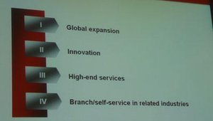 Wincor will focus on four key areas during the 2008/2009 fiscal year — global expansion, innovation, high-end services and branch/self-service in related industries, such as banking and retail.