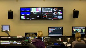 Behind the scenes, in the bowels of the arena, is the facility's control room, with Daktronics' new Show Control system.