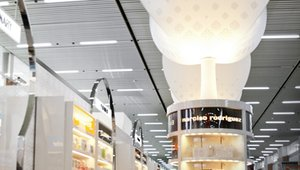 <p>Abundant LED ambient light punctuated with softly luminous ceiling-hung pendants enhances the welcoming effect. </p>