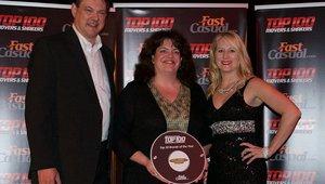 <p>Mary Bigler, center, receives Maui Wowi's Top 100 award.</p>