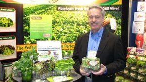 Vincent Choate, director of marketing with Hollandia Produce, grower and shipper of the Live Gourmet family, showcases the company's line of lettuce and watercress. Choate is holding a container of the company's butter lettuce.