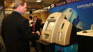 "Source Technologies brought several kiosks from its ""concourse"" product family. Patrons were able to sample how Source Technologies facilitates real-time financial services like bill payment and check cashing"
