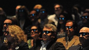 Audience member views a scene of the new Hershey's Great Chocolate Factory Mystery in 4D experience at Hershey's Chocolate World Attraction on Thursday, May 2, 2013 in Hershey, PA.
