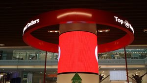 Cylindrical digital signage column installed in London