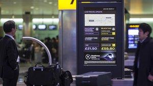 Heathrow Terminal 2 digital signage 'journey comparison generator' kiosks compare fares to London
