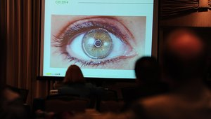 <p>Antolino gave the audience a (much) closer look at EyeLock's myris video technology, which provides up to one-in-two-trillion accuracy in identifying an individual.</p>