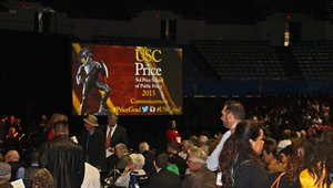 Digital signage and social media bring audience participation to USC graduation