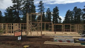 The builder incorporated advanced framing techniques that use less lumber while providing more space for insulation inside the walls.