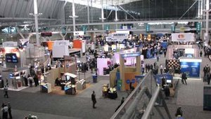A shot from above of the show floor
