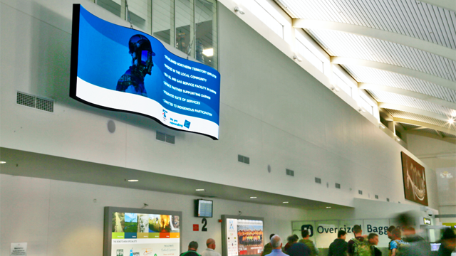 Australian airport does 'The Wave' with digital signage