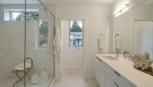A bathroom in the single family net zero home. All fixtures are WaterSense certified.
